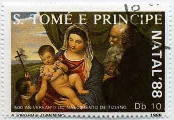 Sao Tome e principe. Tiziano. 1988. Vierge à l'enfant.