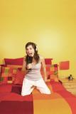 Girl singing with hairbrush poster