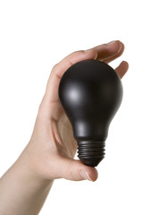 black bulb - harmful energy - concept