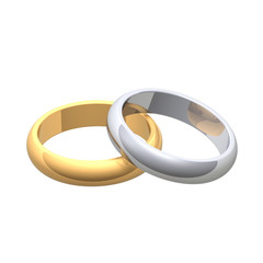 Gold and silver wedding rings isolated on white