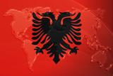 Flag of Albania,  metallic map poster