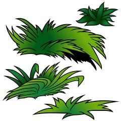 Grass Set D - colored cartoon illustration