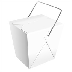 Realistic Chinese take-out box vector.