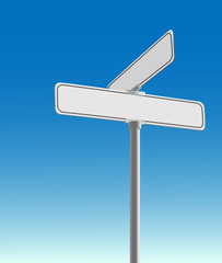 Realistic, blank street sign vector on a blue background.