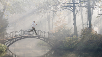 Running on foggy morning