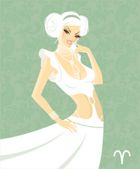 Beautiful girl in white dress - zodiac signs