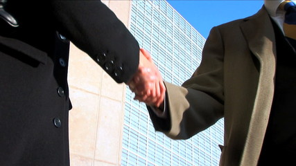 Business Couple Meeting Handshake