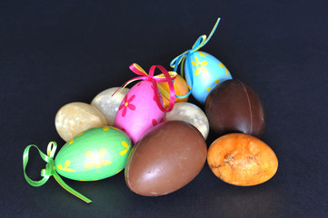 Various decorative Easter eggs isolated on black background