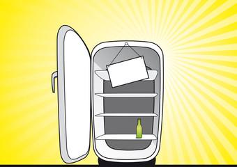 Opened empty broken fridge