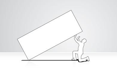 Kneeling man lifting big load