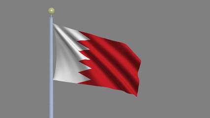Flag of Bahrain with alpha matte for easy isolation