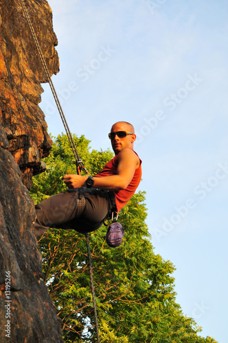 rock climber repelling