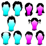 Hairstyles and haircuts in vector silhouette poster
