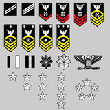 US Navy rank insignia for officers and enlisted in vector