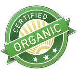 Certified organic food or product packaging label poster