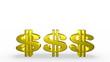 Three Golden Dollar Signs Bouncing