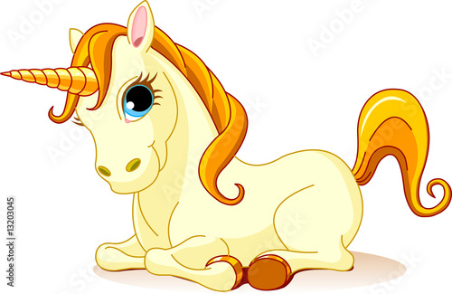 Poster Pony Vector Illustration of sitting cute golden Unicorn.