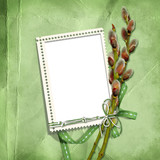 spring  stamp-frames  with  pussy-willow poster