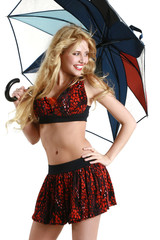 Sexy young girl with umbrella, isolated on white background