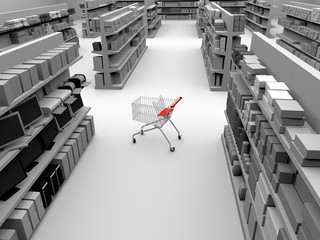 shopping cart in the middle of a store aisle