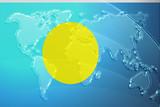 Flag of Palau metallic map poster