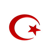 Islamic crescent religious sign on the white. poster