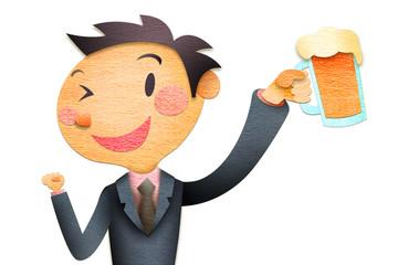 ビールを持つビジネスマン