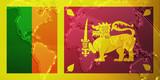 Flag of Sri Lanka metallic map poster
