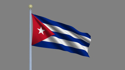 Flag of Cuba with alpha matte for easy isolation