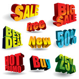 Fototapety Set of colorful discount slogans