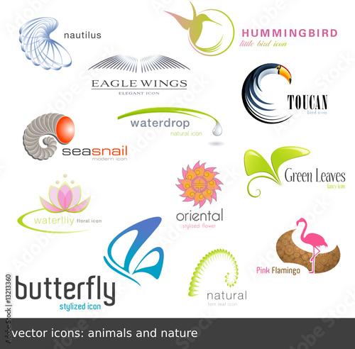 vektorových ikon: zvířatům a přírodě (12 kusů)