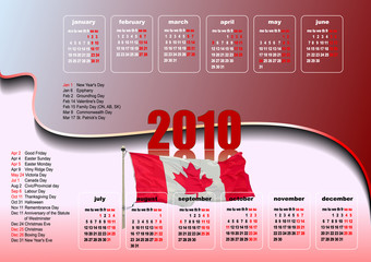 Calendar 2010 with Canadian holidays. Months. Vector