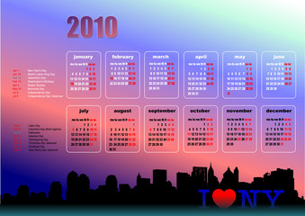 Calendar 2010 with American holidays. Months. Vector