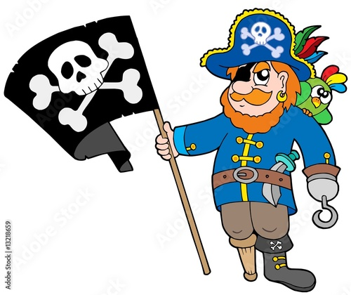 Deurstickers Piraten Pirate with flag