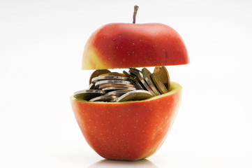 coins in red apple