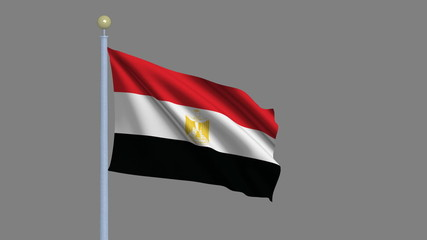 Flag of Egypt with alpha matte for easy isolation