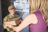 courier delivering package poster
