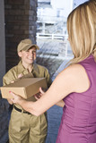 Delivery courier delivering package poster