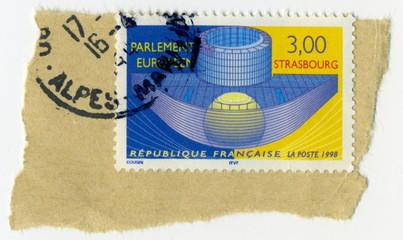 Timbre postal. Parlement européen de Strasbourg. 1998