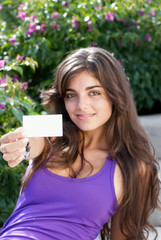 beautiful girl with business card