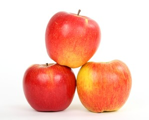 Three red apples isolated on wbite background