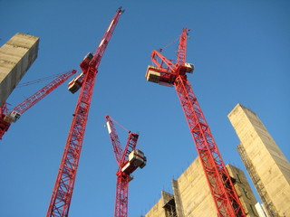 Red Cranes on a construction site