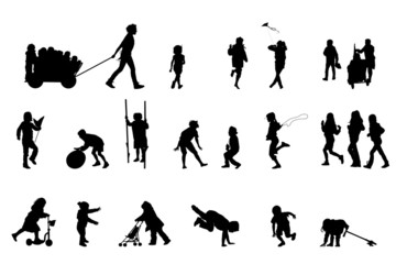 active kids, vector silhouette collection