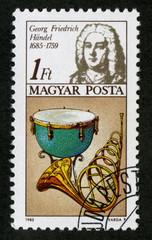 Georg Friedrich Haendel. Timbre postal. Magyar Posta