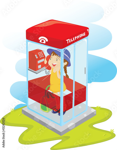 girl in telephone booth
