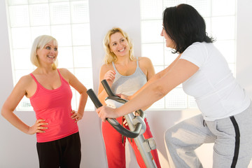 Happy women at gym