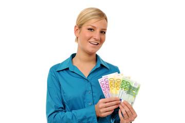 Closeup Junge Frau hält Geldfächer vor