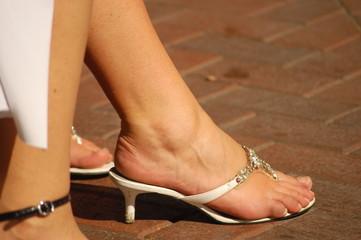 Frauen Fuß im Sommerschuh