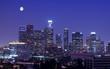 Los Angeles skyline under the moonlight