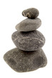 River rocks stacked on white background